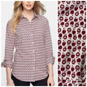 TALBOTS Red Apple Print Collared Button Up Shirt
